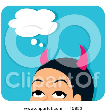 Royalty-free (RF) Clipart Illustration of a Pink Horned She Devil With Bad Thoughts by Monica