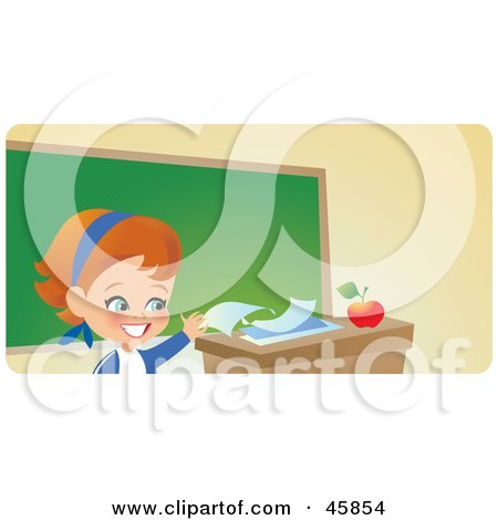 Responsible School Girl Turning In Her Homework On Her Teacher's Desk Posters, Art Prints