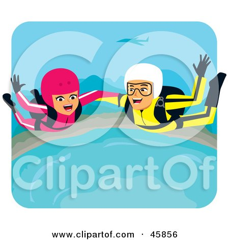 Royalty-free (RF) Clipart Illustration of a Couple Screaming While Skydiving On Their Honeymoon by Monica