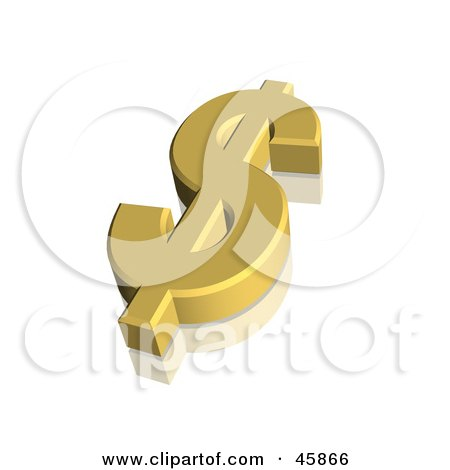 Royalty-free (RF) Clipart Illustration of a Gold 3d Dollar Usd Currency Symbol by ShazamImages