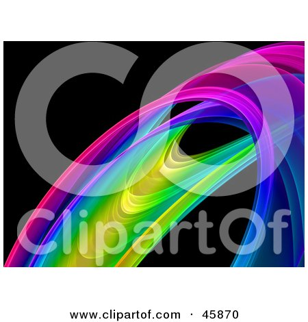 Royalty-free (RF) Clipart Illustration of a Colorful Rainbow Fractal Curve On Black by ShazamImages