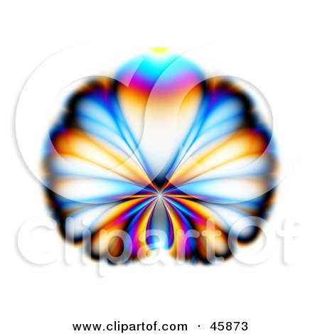 Royalty-free (RF) Clipart Illustration of a Colorful Butterfly Or Peacock Fractal Design On White by ShazamImages
