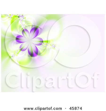 Royalty-free (RF) Clipart Illustration of a Purple Flower Fractal Background On Pale Pink by ShazamImages