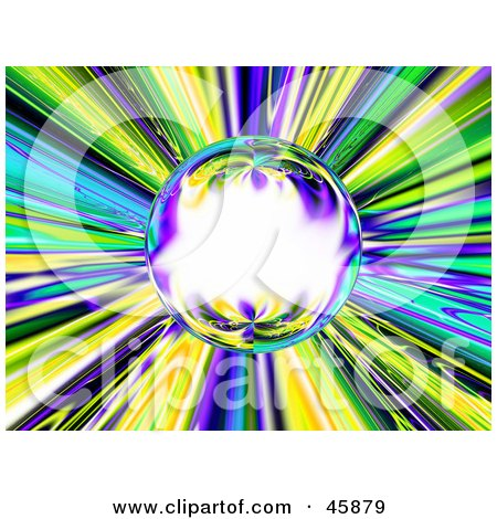 Royalty-free (RF) Clipart Illustration of a Colorful Burst Reflecting In A Glowing Crystal Ball by ShazamImages