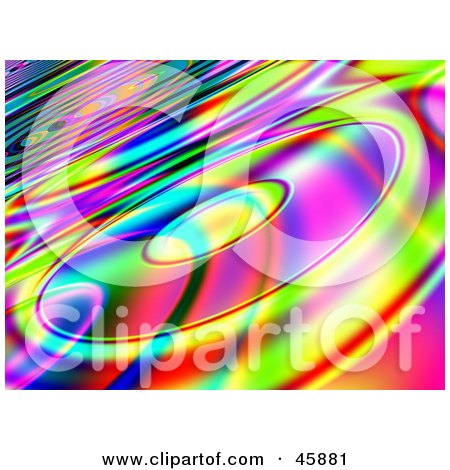 Royalty-free (RF) Clipart Illustration of a Funky Retro Colorful Background With Cds by ShazamImages
