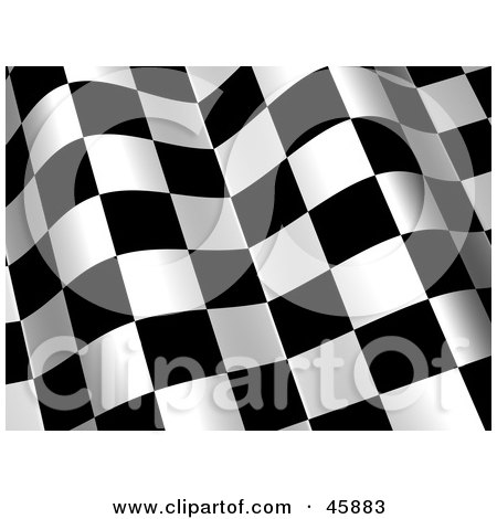 Royalty-free (RF) Clipart Illustration of a Waving Checkered Flag Background With White And Black Squares by ShazamImages