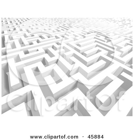 Royalty-free (RF) Clipart Illustration of a Confusing 3d Background Of Complex Hallways In A Maze by ShazamImages