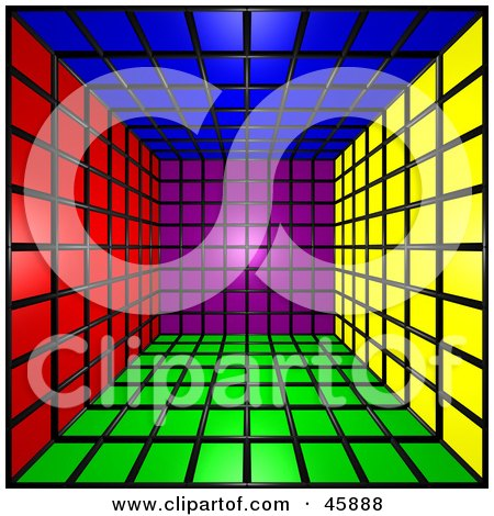 Royalty-free (RF) Clipart Illustration of a 3d Cubic Interior Of Colorful Squares by ShazamImages