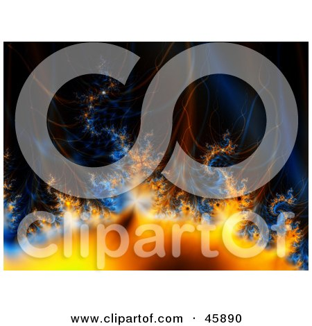 Royalty-free (RF) Clipart Illustration of a Blue And Orange Fractal Background Of Gasses, Flames And Heat On Black by ShazamImages