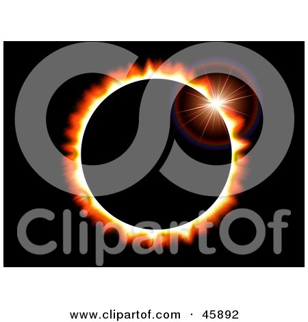 Royalty-free (RF) Clipart Illustration of a Solar Eclipse Background In Space by ShazamImages