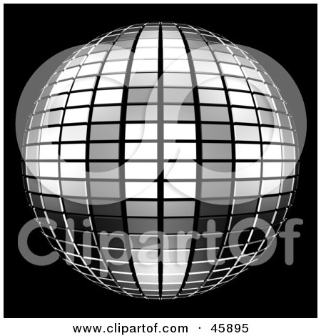 Royalty-free (RF) Clipart Illustration of a Reflective Tiled Silver Mirror Disco Ball On Black by ShazamImages