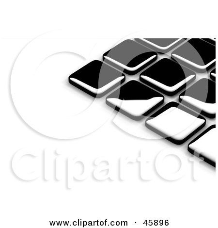 Royalty-Free (RF) Clipart Illustration of an Abstract Background of Shiny Black Tiles With Shading On White by chrisroll