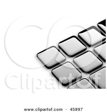 Royalty-Free (RF) Clipart Illustration of an Abstract Background of Shiny Silver Tiles With Shading On White by chrisroll