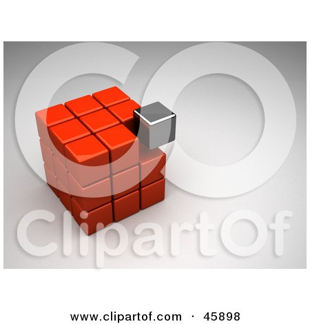 Royalty-Free (RF) Clipart Illustration of a Misfit Chrome Block Settling Into A Red Puzzle Cube by chrisroll