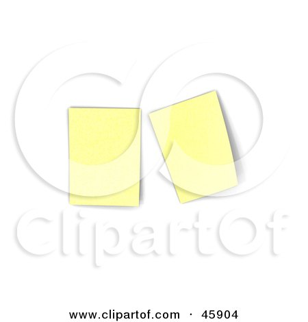 Royalty-Free (RF) Clipart Illustration of Two Blank Yellow Sticky Notes Posted On A Bulletin Board by chrisroll