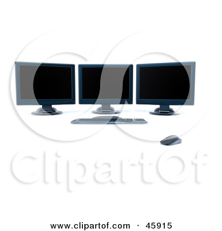 Royalty-Free (RF) Clipart Illustration of a Modern Workstation With Three Black Computer Screens by chrisroll