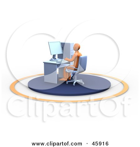 Royalty-Free (RF) Clipart Illustration of an Orange Man Typing And Sitting At His Office Work Station by chrisroll