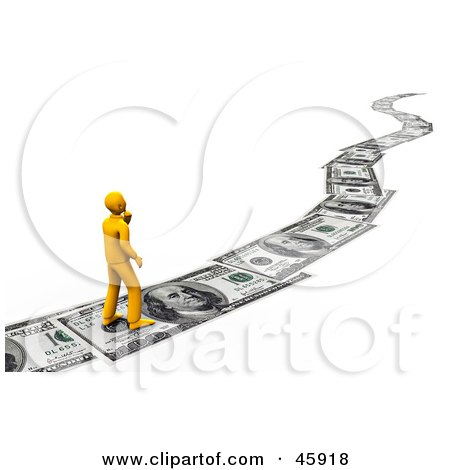 Orange Man Walking On A Path Of Banknotes, Symbolizing Debt, Investing And Wealth Posters, Art Prints
