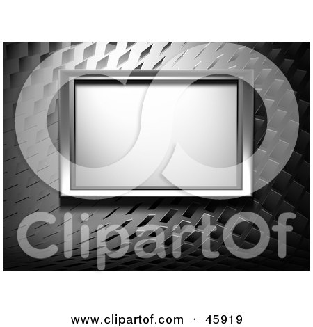 Royalty-Free (RF) Clipart Illustration of a Plasma Tv Framed And Mounted On A Modern Silver Wall by chrisroll