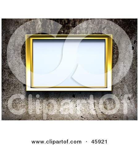 Royalty-Free (RF) Clipart Illustration of a Blank Golden Frame Mounted On A Grungy Cement Wall by chrisroll