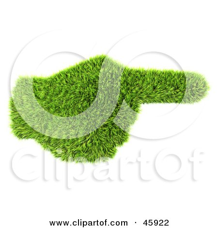 Royalty-Free (RF) Clipart Illustration of a Green 3d Grass Hand Pointing To The Right by chrisroll