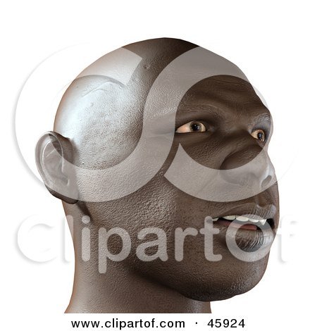 Royalty-Free (RF) Clipart Illustration of a Realistic 3d Render Of An African Man's Face With An Amazed Expression by chrisroll