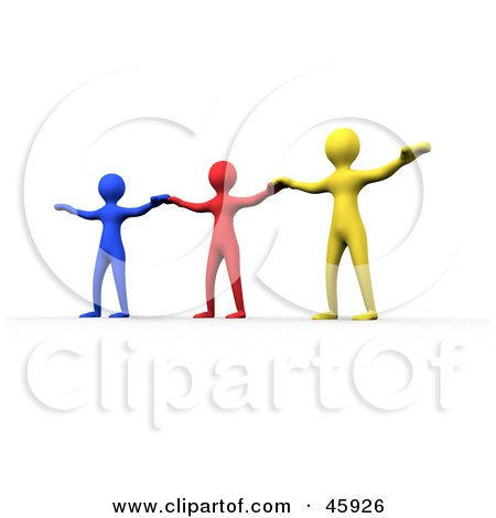 Royalty-Free (RF) Clipart Illustration of a Three Diverse Colorful People Holding Their Arms Out To Each Other by chrisroll