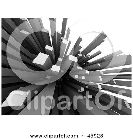 Royalty-Free (RF) Clipart Illustration of Abstract Gray Spikes, Columns Or Skyscrapers Shooting Upwards by chrisroll