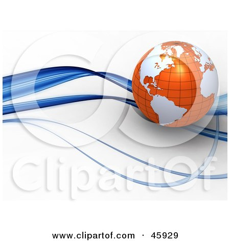 Royalty-Free (RF) Clipart Illustration of a 3d Globe With Orange Oceans And White Continents, Riding On A Blue Wave by chrisroll