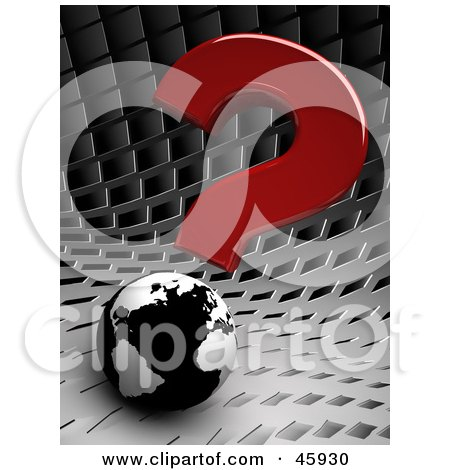 Royalty-Free (RF) Clipart Illustration of a Red 3d Question Mark Above A Black And White Globe On A Chrome Background by chrisroll