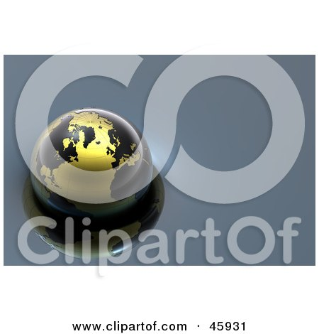 Royalty-Free (RF) Clipart Illustration of a Shiny 3d Globe With Black Continents And Golden Oceans, Floating On Blue Water by chrisroll