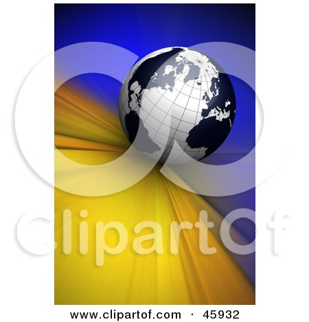 Royalty-Free (RF) Clipart Illustration of a Black And White 3d Globe Rushing Forward On A Blue And Yellow Background by chrisroll