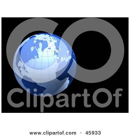 Royalty-Free (RF) Clipart Illustration of a Blue Shiny 3d Grid Globe On A Black Background by chrisroll