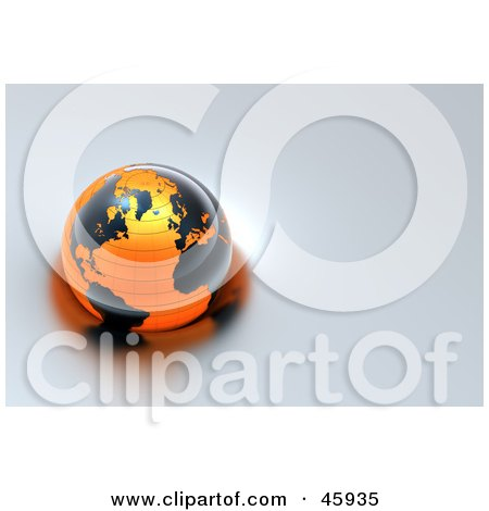 Royalty-Free (RF) Clipart Illustration of a Shiny 3d Globe With Black Continents And Orange Oceans, Floating On Gray Water by chrisroll