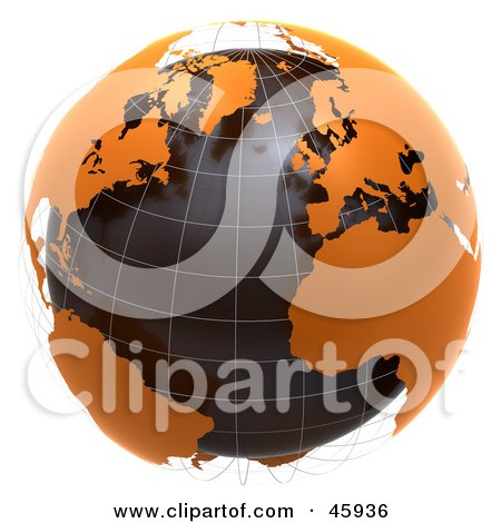 Royalty-Free (RF) Clipart Illustration of a 3d Globe With Floating Orange Continents And Black Oceans by chrisroll