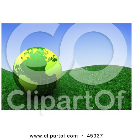 Royalty-Free (RF) Clipart Illustration of a Shiny 3d Green Globe Resting On A Grassy Hill Under A Blue Sky by chrisroll