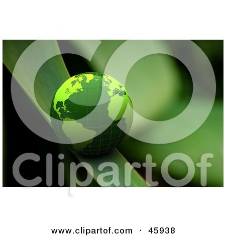 Royalty-Free (RF) Clipart Illustration of a Green Shiny 3d Globe Rolling Down A Blade Of Grass by chrisroll