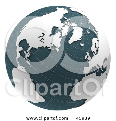 Royalty-Free (RF) Clipart Illustration of a 3d Grid Globe With Teal Waters And White Continents by chrisroll