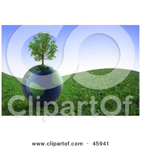 Royalty-Free (RF) Clipart Illustration of a Healthy Tree Growing On Top Of A 3d Globe On A Grassy Hill Under A Blue Sky by chrisroll