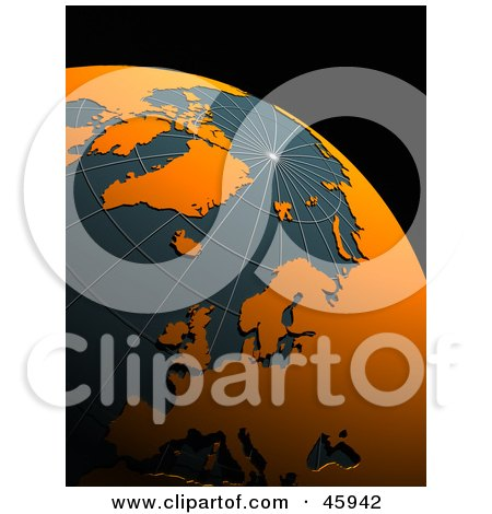 Royalty-Free (RF) Clipart Illustration of a 3d Globe With Orange Continents And Teal Oceans by chrisroll