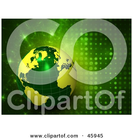 Royalty-Free (RF) Clipart Illustration of a 3d Green And Yellow Globe On A Futuristic Sparkling Background by chrisroll