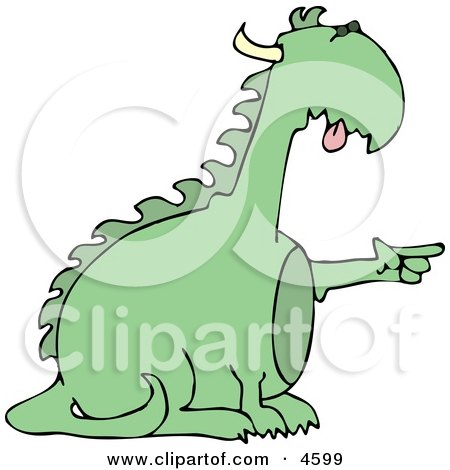 Reptilian Dragon Pointing His Finger at Something Clipart by djart