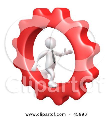 Royalty-Free (RF) Clipart Illustration of a 3d White Businessman Running In A Cog Wheel by 3poD