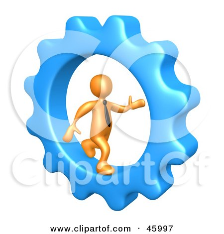 Royalty-Free (RF) Clipart Illustration of a 3d Orange Businessman Running In A Cog Wheel by 3poD