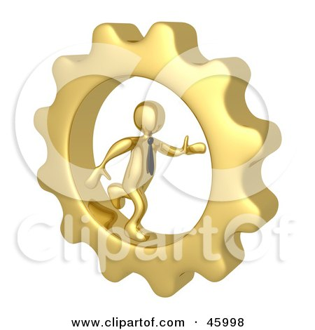 Royalty-Free (RF) Clipart Illustration of a 3d Gold Businessman Running In A Cog Wheel by 3poD
