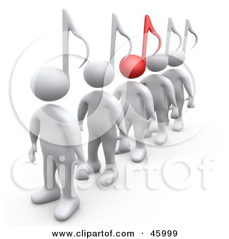 Royalty-Free (RF) Clipart Illustration of a Line Of White 3d People With Music Note Heads, One With A Red Note by 3poD
