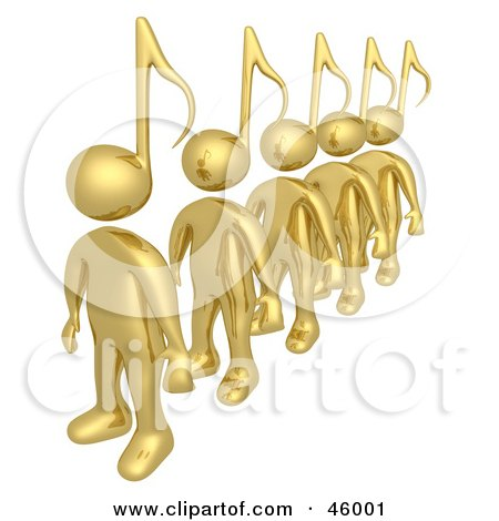 Royalty-Free (RF) Clipart Illustration of a Line Of Golden 3d People With Music Note Heads by 3poD