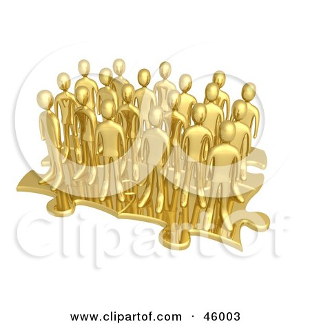 Royalty-Free (RF) Clipart Illustration of a Group Of 3d Gold Businessmen Associates Standing On Connected Puzzle Pieces by 3poD