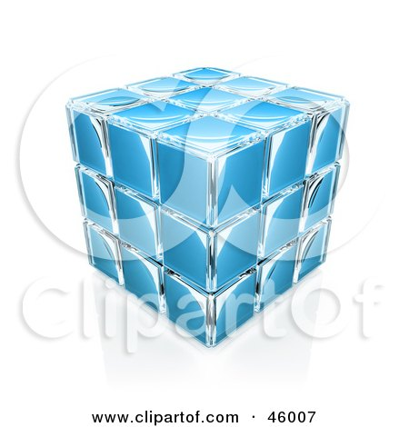Royalty-Free (RF) Clipart Illustration of a Compacted Blue Glass Puzzle Cube by 3poD