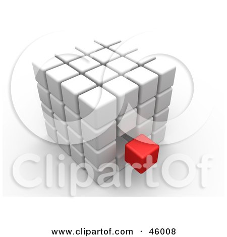 Royalty-Free (RF) Clipart Illustration of an Outcast Red Cube Floating Near A White Puzzle Cube by 3poD
